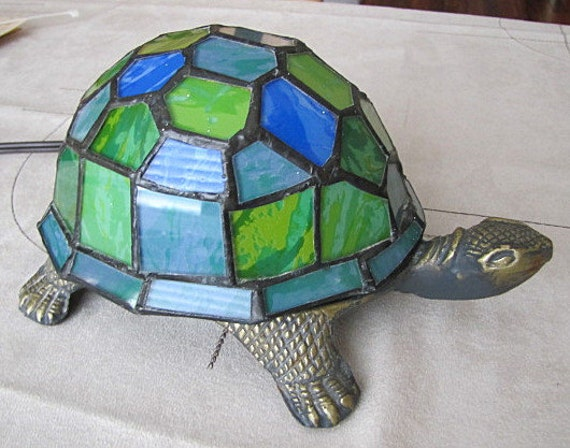 Stained Glass Turtle Lamp Handcrafted Tiffany Style