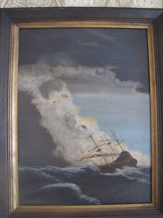 Vintage Ship Oil Painting Stormy Sea Signed J. K. Turner