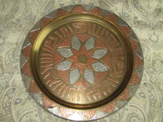 Vintage Brass and Copper Plate, Wall Art Home Decor