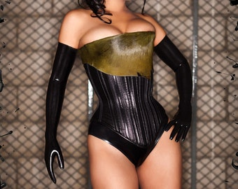 PUIMOND Black Leather w/ Real Green Cow Pelt PY07 Straight Overbust Corset Size 20 New In-Stock