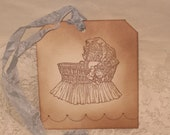 Vintage Style Baby Gift Tag Announcement Birthday Baby Boy Twins ECS