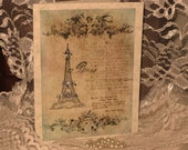 Vintage French Design Handmade Cards Adormed with Glitter Bling on Parchment ECS