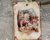 Vintage Baby Girl Gift Tag Victorian Baby