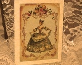 Vintage French Design Handmade Cards Adormed with Bling on Parchment ECS