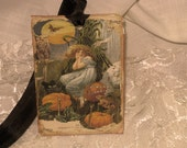 Vintage Gothic Style Halloween Gift Tags with Seam Binding ATC
