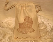 Vintage Baby Carriage Muslin Gift Favor Pouches set of 6