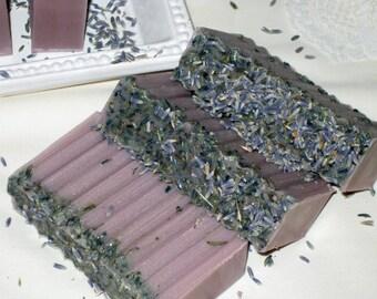 Shea Butter Lavender Soap, Handmade Soap, Shea Butter Lavender Soap with Lavender Buds Vegan Friendly ECS