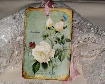 Vintage Distressed Rose Gift Tags ECS