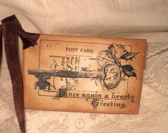 Vintage Christmas Hand Stamped Santa's Post Card Gift Tags Set of 6 Hang Tags