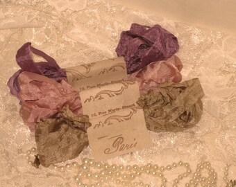 Hand Crinkled Seam Binding Packaged French Rose ECS