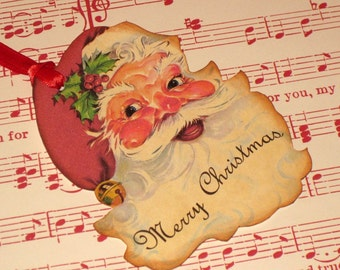Vintage Santa Die Cut Gift Tag Christmas Cut By Hand