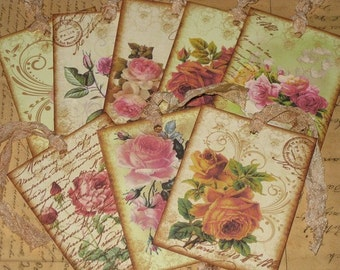 Vintage Roses Gift Tags with French Script Paris Apartment Ooh La La