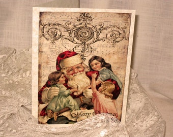 Merry Christmas Santa With Children Christmas Cards Original Design on Parchment ECS