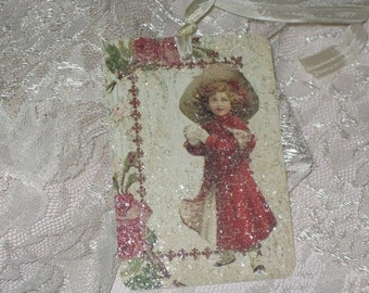 Vintage Christmas Gift Tags with Seam Binding and Mica Flakes to give it that holiday glimmer and glitz