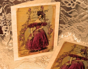 Vintage French Design Concertos Handmade Cards Adormed with Bling on Parchment ECS