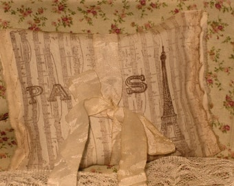 Vintage Music Eiffel Tower Sachet Handmade and Hand Stamped Filled with Provence Lavender Ooh La La