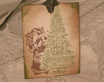 Vintage Christmas Hand Stamped Hiding Vintage Santa Gift Tags Set of 6 Hang Tags ECS