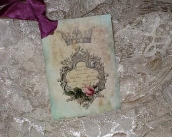 Vintage Roses French Script Crown Gift Tag ECS