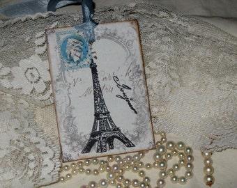 Vintage Paris French Script Ephemera Gift Tags Paris Apartment Ooh La La Eiffel Tower