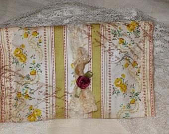 Vintage French Floral Postcard Sachet Handmade and Hand Stamped Filled with Provance Lavender Ooh La La