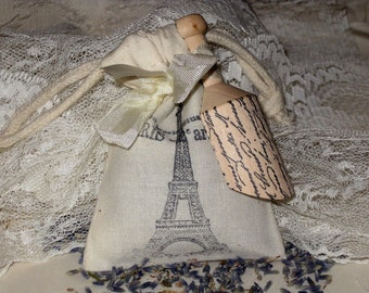 Custom Listing for Mary Muslin Filled with French Lavender Sachet with Wooden Scoop Paris Apartment ooh la la
