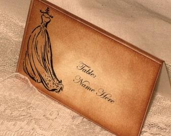 Vintage Style French Elegant Wedding Place Cards with Vintage Wedding Dress Original Design