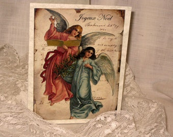 Joyeux Noel Angel Christmas Cards Original Design on Parchment ECS