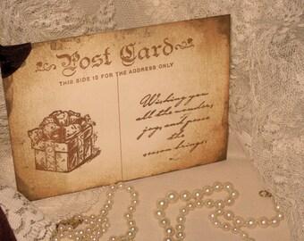 Vintage Christmas Hand Stamped Christmas Post Card  Gift Tags Set of 6 Hang Tags