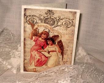 WIshing You a Merry Christmas Angel Christmas Cards Original Design on Parchment ECS