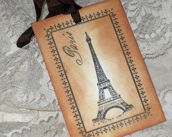 Vintage Gift Tags Paris Eiffel Tower Hand Stamped ECS