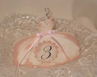 Vintage Style Fashion Dress Luxury Table Numbers/Names Wedding Original Design