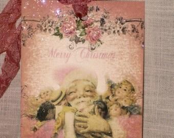 Pinktastic Vintage Noel Santa with Toys Gift Tags ECS (Pink004)