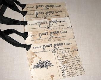 Vintage Carte Postale Post Card Gift Tags Paris Market ECS