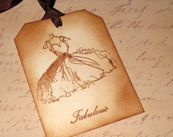 Vintage Wedding Dress Fabulous Gift Tags Hand Stamped Set of 6