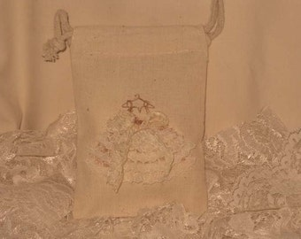 Muslin Wedding Shower Party Favor Gift Pouches Adorned with Lace