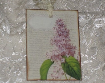 Vintage Marie Antoinette Script Botanical Gift Tags with Hand Scrunched Seam Binding Soft and Elegant ATC.
