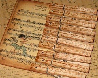 Vintage French Script Clothespins Hand Stamped French Script