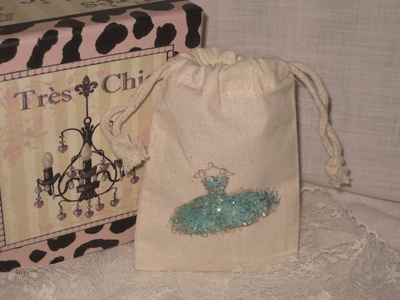 Muslin Pouch Favor, Glittered Turquoise Blue Vintage Dress Design, Wedding Favor, Shower Favor,  ECS