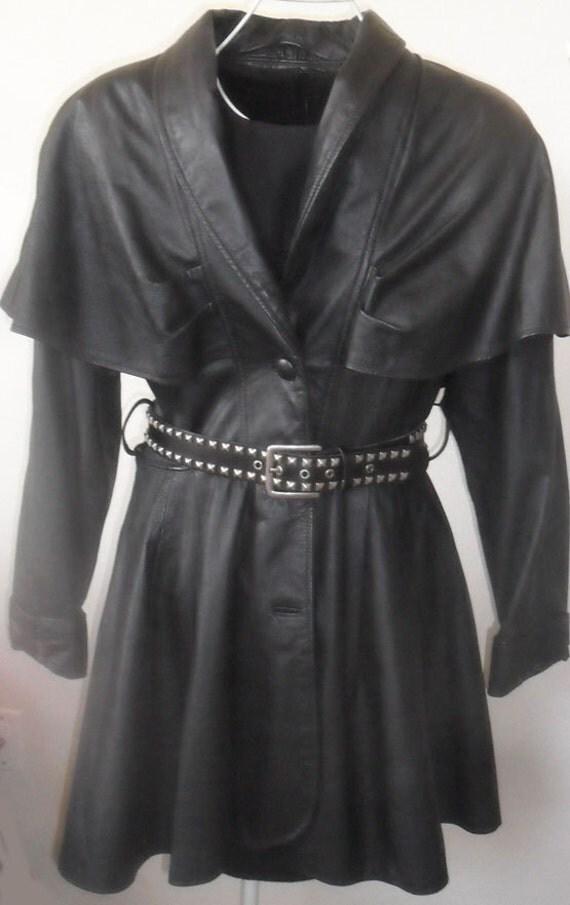 Gorgeous Unique Black Leather Coat