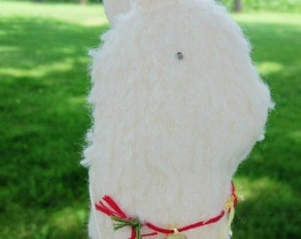 Handsewn Peruvian Llama Toy or Decoration In Cream Color With Multi-Color Bell Decorations