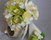 Wedding bouquet and boutonniere, orchids, roses and hydrangea Made by order