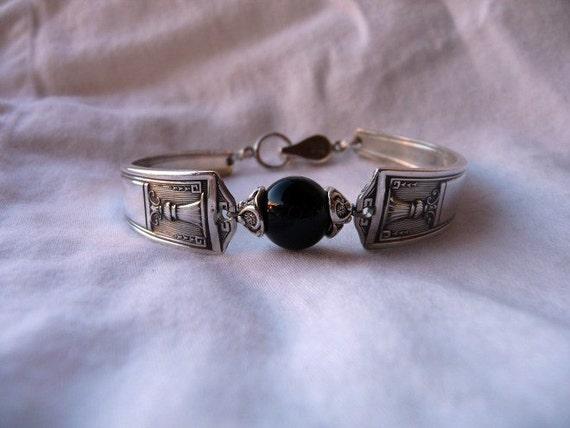Spoon Bracelet 1923 Century Silver Pattern and Black Onyx Stone