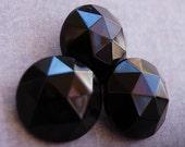 Vintage Large Black Glass Buttons - Set of 3 - 501