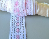 Vintage Pink and White Lace - 3 Yards