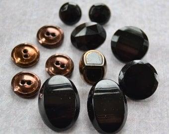 Vintage Button Lot - Black Glass Mix 761