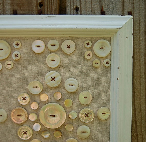 framed mother of pearl button wall art by peachparlor on etsy. Black Bedroom Furniture Sets. Home Design Ideas