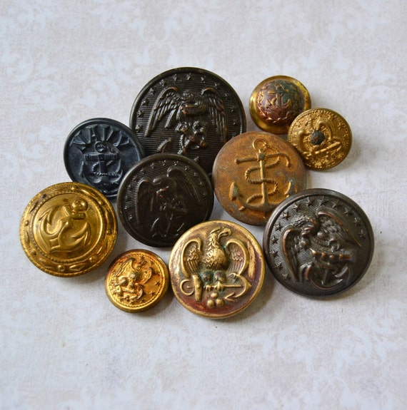 Vintage Military Navy Uniform Buttons Anchor Eagle by