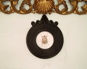 Small black picture frame, small round black frame  f26