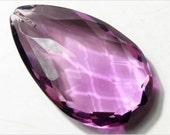 Teardrop (1) 40 mm Antique vintage Czech faceted Purple Dangle Drop glass Jewel Bead Pendant E711-144