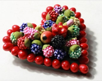 antique vintage Bohemian heart Fruit salad Art pin Brooch floral hand made E713-20